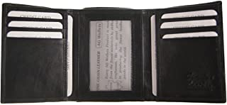 ブラックメンズ牛革レザー三つ折り財布マルチカードスロットIDウィンドウをギフトボックスに