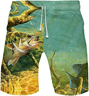 Gergeos Men's Swim Trunks Summer Quick Dry Surfing Beach Board Shorts Funny Fishing Printed Shorts Plus Size