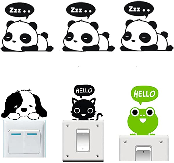 Buytra 6 Pieces Cute Animals Wall Stickers Switch Decor Decals Art Mural Baby Nursery Room Panda Cat Dog Frog