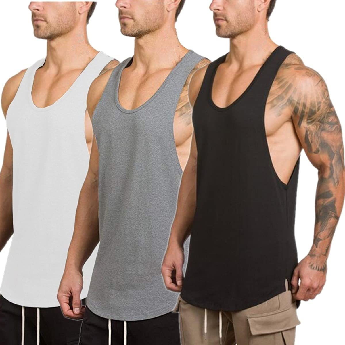 XYKJFIT Men's 3 Bargain Pack Light Weight Gym Te Workout Top Muscle Tank Manufacturer regenerated product