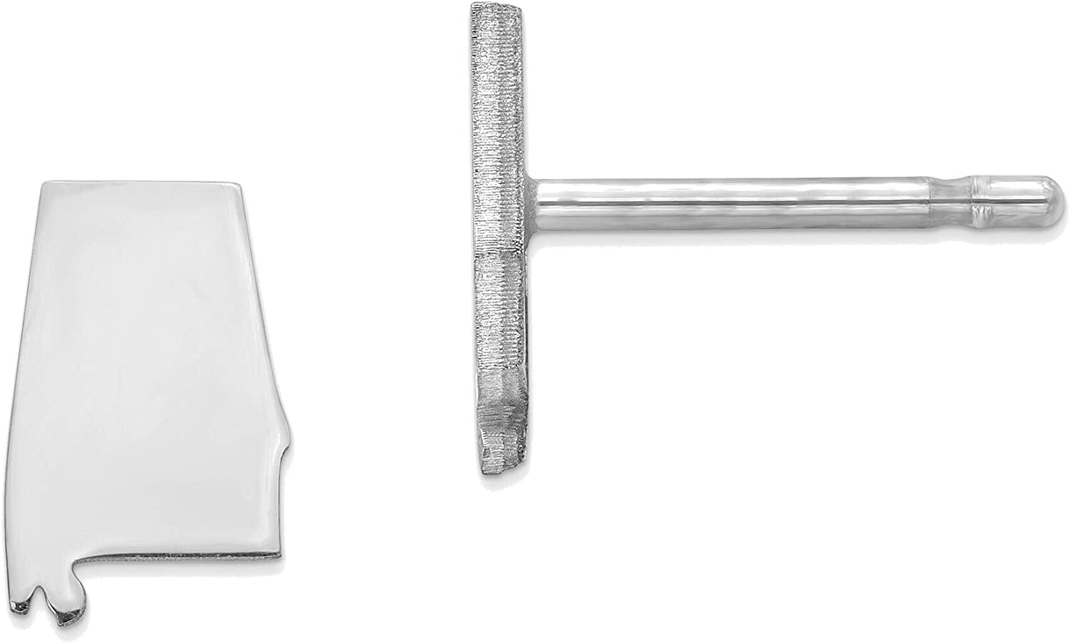 14kt White Gold AL Small State Earring
