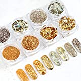 Macute Sparkle Nail Glitters 8 Boxes Gold Silver Nail Art Sequins Metallic Shining Flakes for Women Fingernails and Toenails DIY Designs Nails Decorations Supply Manicure Tips Accessories