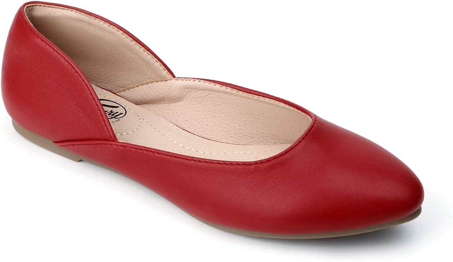 Trary Women's Casual D'Orsay Pointed Toe Ballet Large Dallas Mall discharge sale Sho Slip Flat on