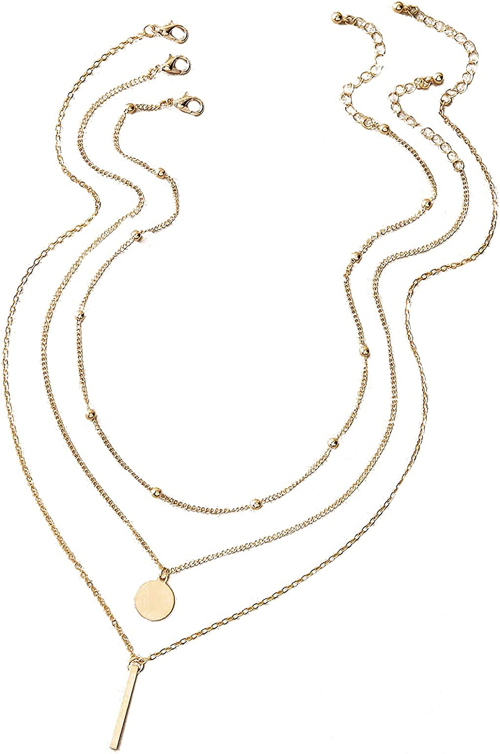 Milumia Women's 3pcs Layered Y Pendant Choker Necklace Bar Disc Charm Necklace Jewelry Girls Gifts