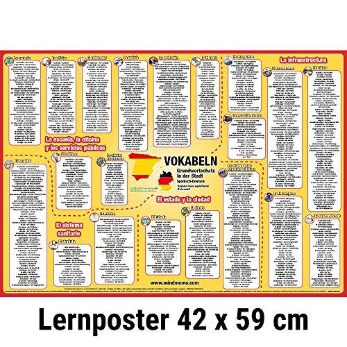mindmemo Vokabel Lernposter - Grundwortschatz Spanisch / Deutsch - In der Stadt - 600 Vokabeln lernen leicht gemacht Lernhilfe Zusammenfassung Poster DIN A2 42x59 cm PremiumEdition Transportrolle