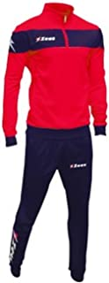 Zeus Tuta Marte Ginnastica Allenamento Training Corsa Relax Jogging Sport (XXXL, Rosso-Blu)