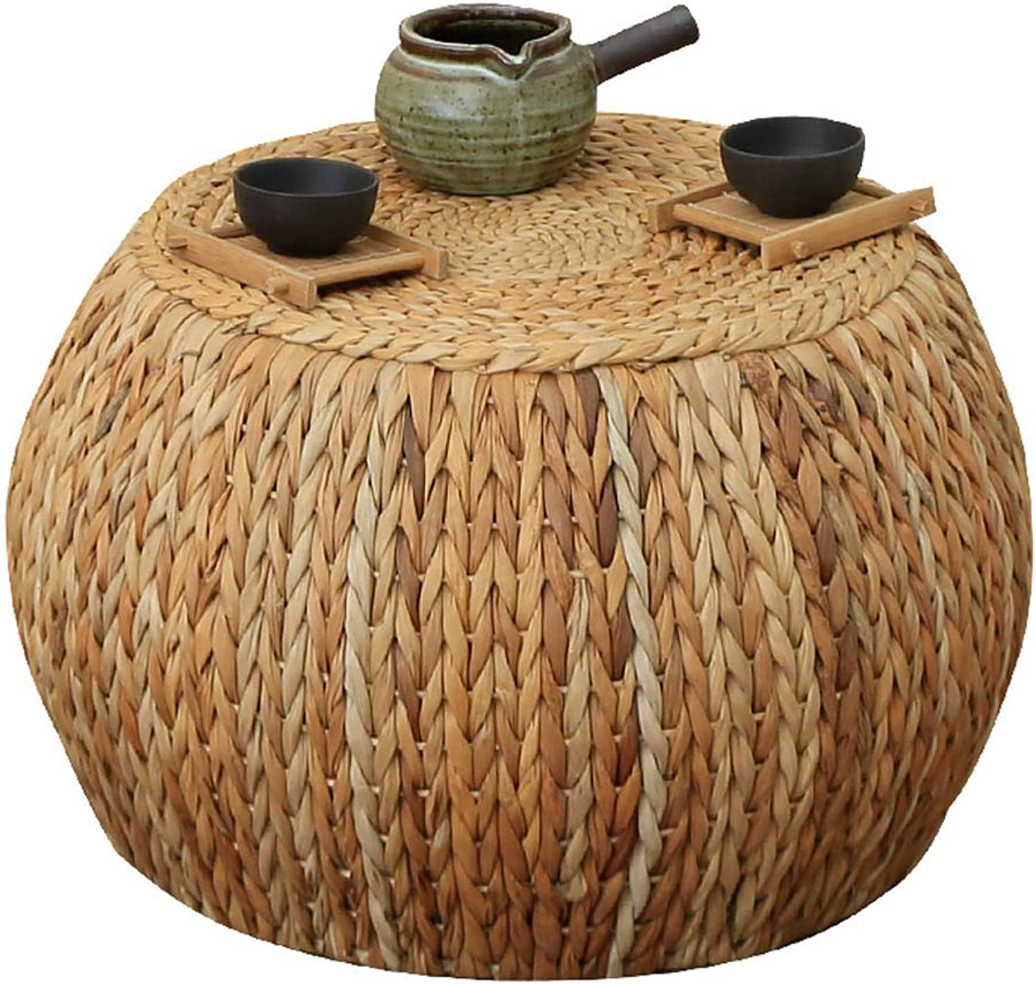 Rattan Coffee Table Stool Round Footstool, Rustic Style Straw Sofa Bench Simple shoes Bench, Suitable for Living Room, Bedroom, Courtyard