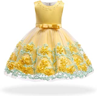 Cute Princess Elegant Dress for Baby Girl Toddler Wedding Party Birthday Princess Dresses Infant Pageant Bow-Knot Dress Yellow 12 M 6-12 Months