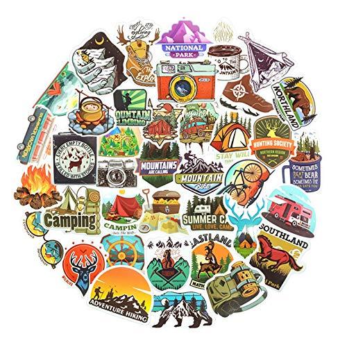 WYDML Pegatinas de Paisaje para Acampar, Aventuras al Aire Libre, montañismo, Pegatinas de Viaje, Anime, portátil, Equipaje, Bicicleta, Casco, Coche, Guitarra, 80 Uds.