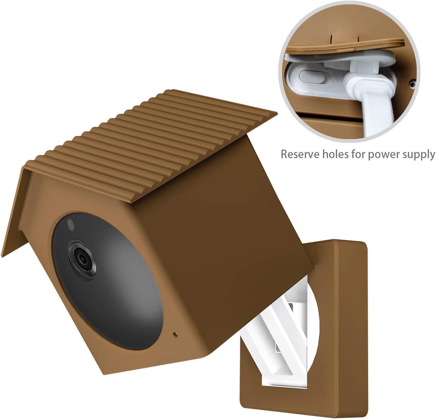 marrone, 1 pezzo BECEMURU Wyze Cam Telecamera di sicurezza esterna Tetto Proteggere e Camma camuffamento con luce UV e resistente alle intemperie in silicone per Wyze Cam Outdoor Camera