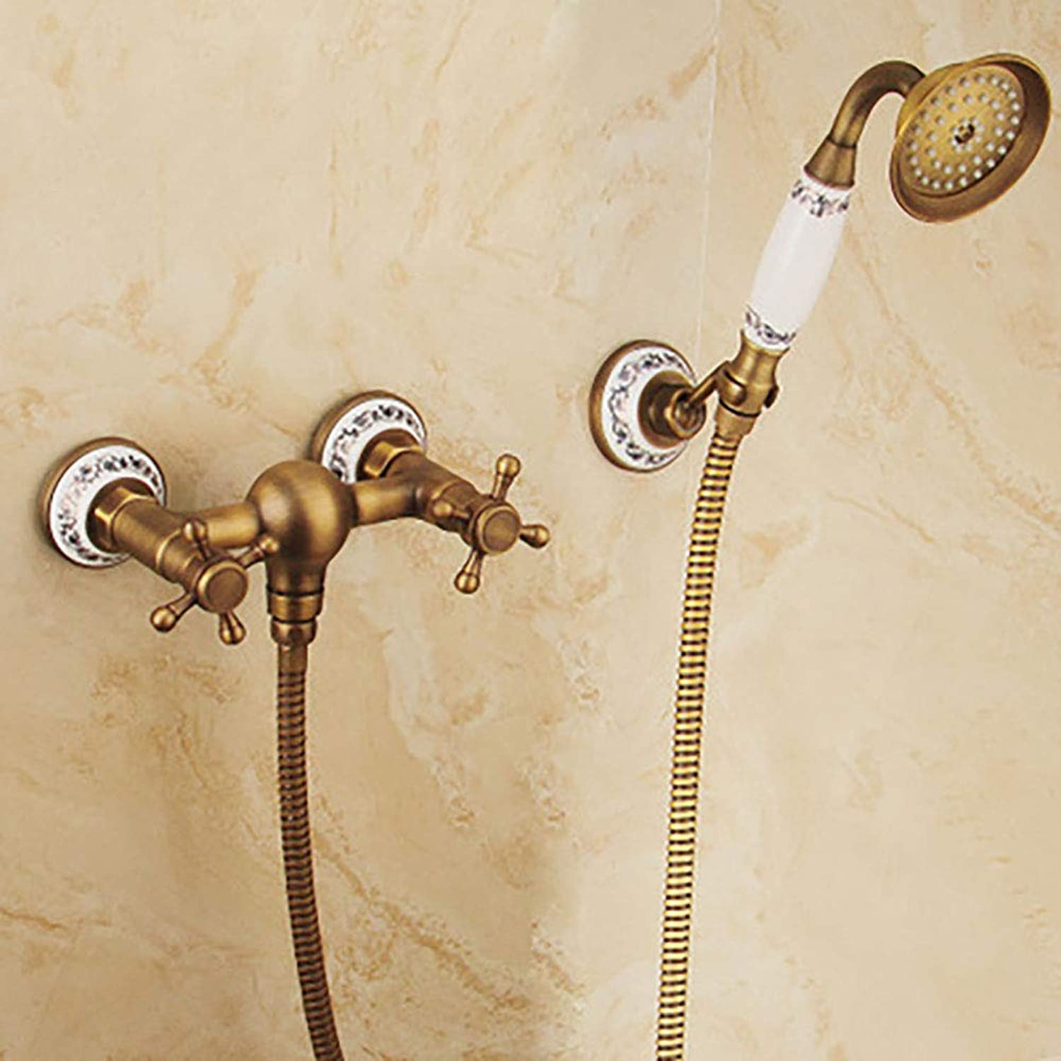 Simple Shower Set Shower hot and Cold Separation, Simple All-Copper Wall-Mounted Handheld golden Shower with fine Accessories-yellow3