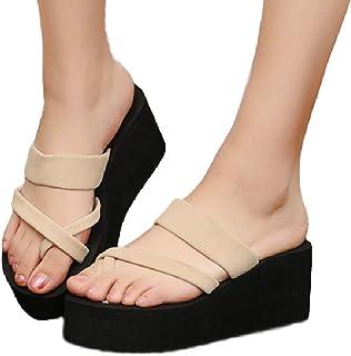 [ココマリ] 厚底 サンダル 軽量 シンプル ビーチサンダル 靴 レディース ヒール ウェッジ ソール 歩きやすい シューズ くつ