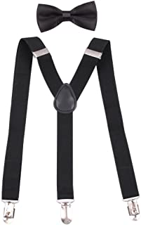 """GUCHOL Boys Suspenders Bow Tie Set 1"""" Wide 3 Clips Adjustable Length 5 to 13 Year Old"""