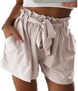 Abeaicoc Women Simple Summer Bandage Solid Waisted Mid Straight Leg Beach Shorts