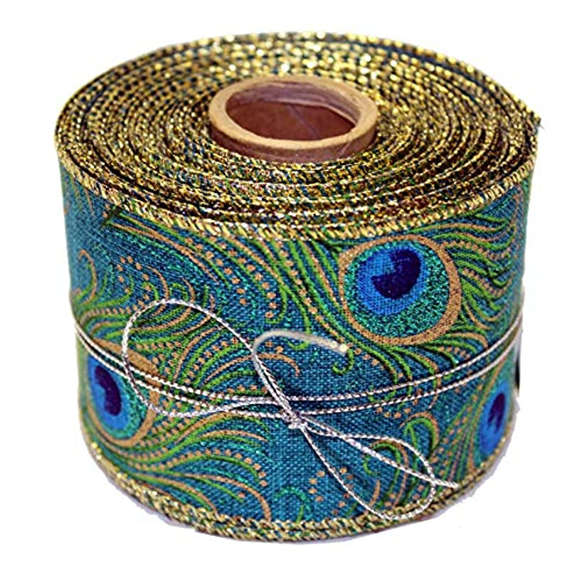 Peacock Mardi Gras Wired Ribbon - 2 1/2 inch x 10 Yards, Blue, Green, Gold, Feathers, Wedding, Party, Christmas Decorations, DIY Wreath, Swag, Garland, Mother's Day