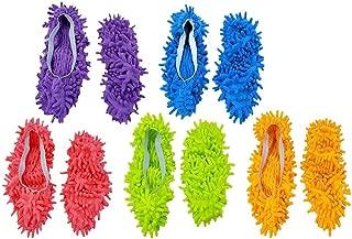 Microfiber Mop Shoes Multifunction Dust Shoes Slippers 5 Colors 5 Pair