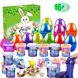 16 psc Silly Fluffy Galaxy Slime Colorful Putty with Accessories for All Ages Kids, Stress Relief Sludge Toys, Prefilled Easter Theme Party Favor Supplies, Easter Basket Stuffers, Great Family Games.