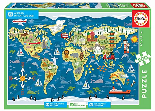 Educa-200 World Map, Sean Sims-SOS Children´s Villages Puzzle, Colore Vario, 17727