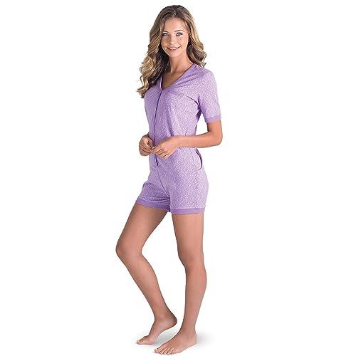4dbe1b966555 Amazon.com  PajamaGram One Piece Pajamas for Women - Onesie with Drop Seat