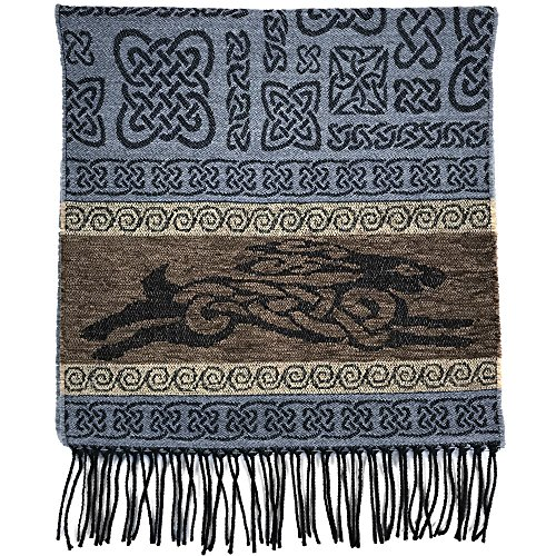 The Celtic Ranch Detailed Woven Celtic Scarf, Women's Fringe Scarf, Wool and Acrylic Blend, 15 Inches x 62 Inches, (Grey Celtic Hare)