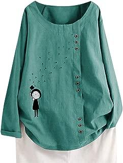 XVSSAA Women's Print Long Sleeve Round Neck T-Shirt, Ladies Casual Cotton Linen Button Down Loose Blouse Tops