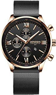 Mens Simple Watch Analog Quartz Stainless Steel Mesh Band Dial Casual Wrist Watches for Men