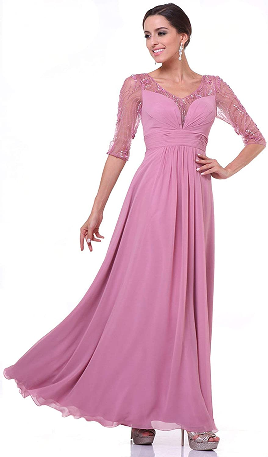 Cinderella Divine  967 Sheer Quarter Length Sleeve Ruched Aline Dress
