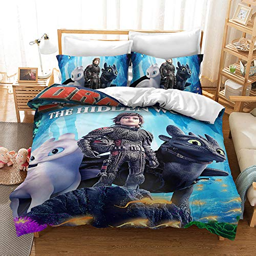 Meiju Duvet Cover Set for Boy Girl Single Double King Bed, 3D Printed Bedding Set Adults Teenager Children Kids Bedroom Microfiber Duvet Set with Pillowcases (How to Train Your Dragon 2,140x200cm)