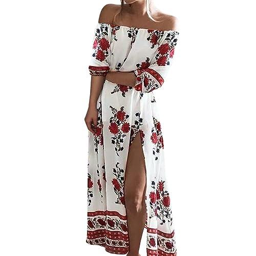 ISASSY Vestiti Donna Eleganti Estivo Lungo Vestito Spalla Nuda Floreale Spiaggia  Abito Pacco Partito Cocktail 86e102606a7