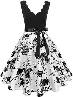 Prom Dresses for Women,Women Sleeveless Fashion Print Vintage Flare Dress