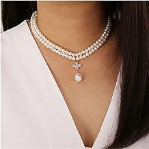 GPWDSN Kralen hanger ketting, mode vrouwen ketting parel ketting verklaring dames kragen goud kleur legering sieraden chok...