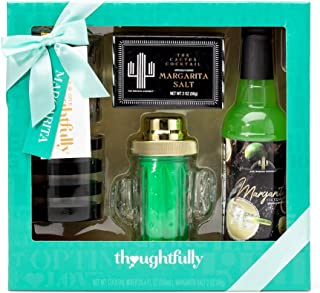 Thoughtfully Gifts, Skinny Margarita Set, Includes 25.3 Fluid Ounces of Margarita Mix, 2 Ounces Margarita Salt, Cactus Cocktail Shaker, and 2 Cactus Shot Glasses