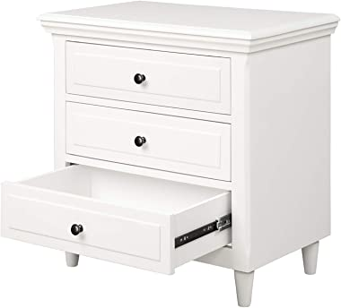 """Knocbel Solid Wood Night Stand Bed Side Sofa Table with 3 Drawers, Fully Assembled, 28.1"""" H x 27.9"""" W x 16.9"""" D (White)"""