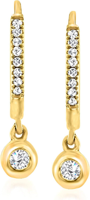 Ross-Simons 0.14 ct. t.w. Diamond Charm Petite Hoop Earrings in 14kt Yellow Gold
