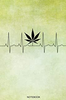 Notebook: Funny Weed Heartbeat Composition Book for Ideas While High, Grow Notes, Weed Lover Smoker Friend Stoner Gift Birthday I Grow Log Book CBD ... I Size 6 x 9 I Quad Ruled Paper I 120 Pages