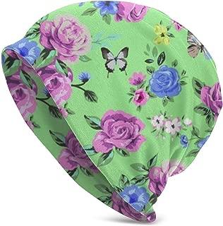 Flower Butterfly Classic Unisex Winter Warm Knitting Hats Beanie Hats Skull Cap Black