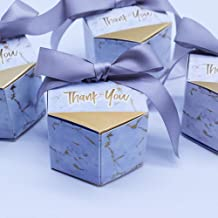 Creative Marble Wedding Candy Box Wedding Party Supplies Gift Boxes Baby Shower Favors Chocolate Packing Box Bag (Silver, 50pcs)