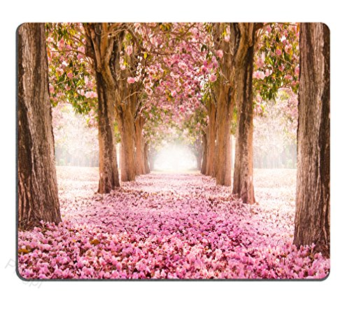Pingpi Gaming Mouse Pad Custom, The Romantic Tunnel of Pink Flower Trees Personalized Design Non-Slip Rubber Mouse pad