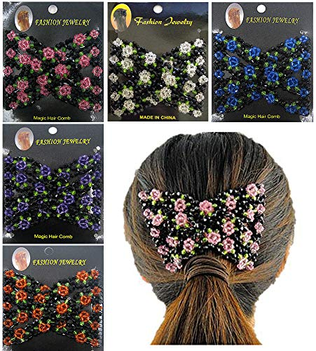 Ldawy Peigne à cheveux en perles magiques,5 Pièces Magic Elastic Handmade Hair Peignes Double Clips pour femmes dames filles accessoire de coiffure