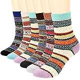 BESLIME 6 Pares Vintage Calcetines de Lana Lana Calcetines Coloridos Para Mujer Suaves, Gruesos, Transpirables, Calcetines Cálidos de Invierno Para Mujer