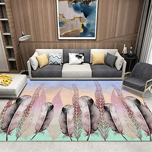 Xiaosua Waterproof Outdoor Rug Pink Carpet living room pink long feather pattern soft carpet durable Balcony Carpet 40X60CM Rug Small 1ft 3.7''X1ft 11.6''
