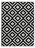 Grande Tapis De Salon - Noir Blanc - Motif Géométrique Treillis Marocain - Design Moderne & Traditionnel - Parfait pour La Chambre - Plusieurs Coloris & Tailles Casablanca 120 x 170 cm