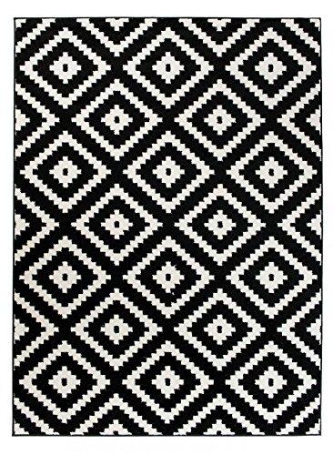 We Love Rugs - Carpeto Orientalisches Marokkanisches Teppich - Flor Modern Designer Muster - Wohnzimmer Schlafzimmer Esszimmer - Schwarz Weiß - 120 x 170 cm