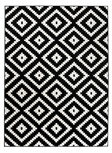 Carpeto Teppich Modern schwarz-weiß 60 x 100 cm Geometrische Muster Kurzflor Furuvik Kollektion