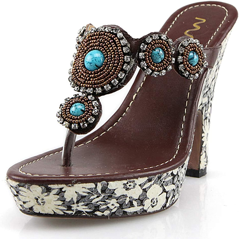DoraTasia Women' s Summer Cozy Wedge Heel Sandals Retro Slip-on Ethnic Beach Sandals
