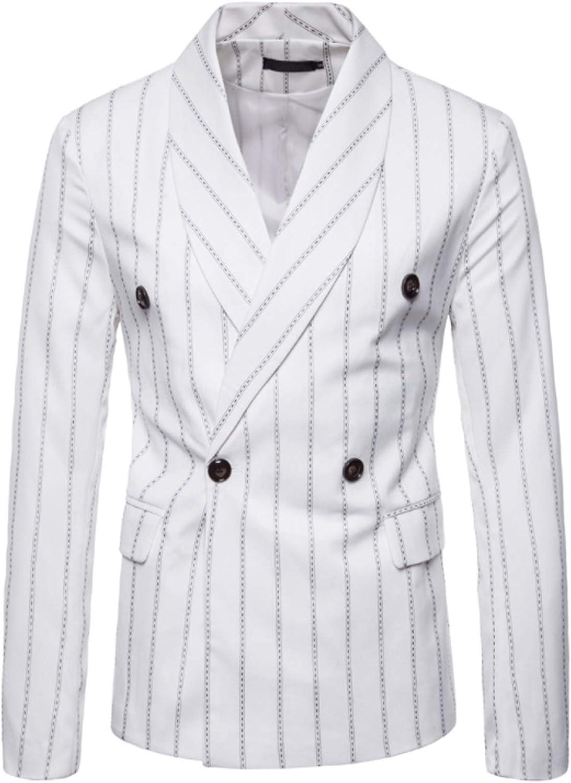 Bestgift Men's Stripe Slim Fit Casual Business Suit Jakcet
