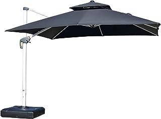 PURPLE LEAF 9ft Patio Umbrella Outdoor Square Umbrella Large Cantilever Umbrella Windproof Offset Umbrella Heavy Duty Sun Umbrella for Garden Deck Pool Patio, Black