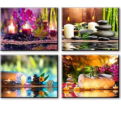 PIY 4X Cuadro sobre Lienzo Imagen de Tratamiento de SPA con Velas de bambú Piedra Canvas Wall Art de la Lona Listo para Colgar Cuadros sobre el Lienzo con Colgante para Sala Comedor Cocina 30x40cm