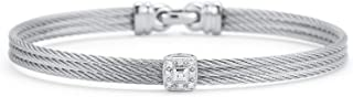 ALOR Grey Cable Classic Stackable Bracelet with Single Square Station Set in 18kt White Gold