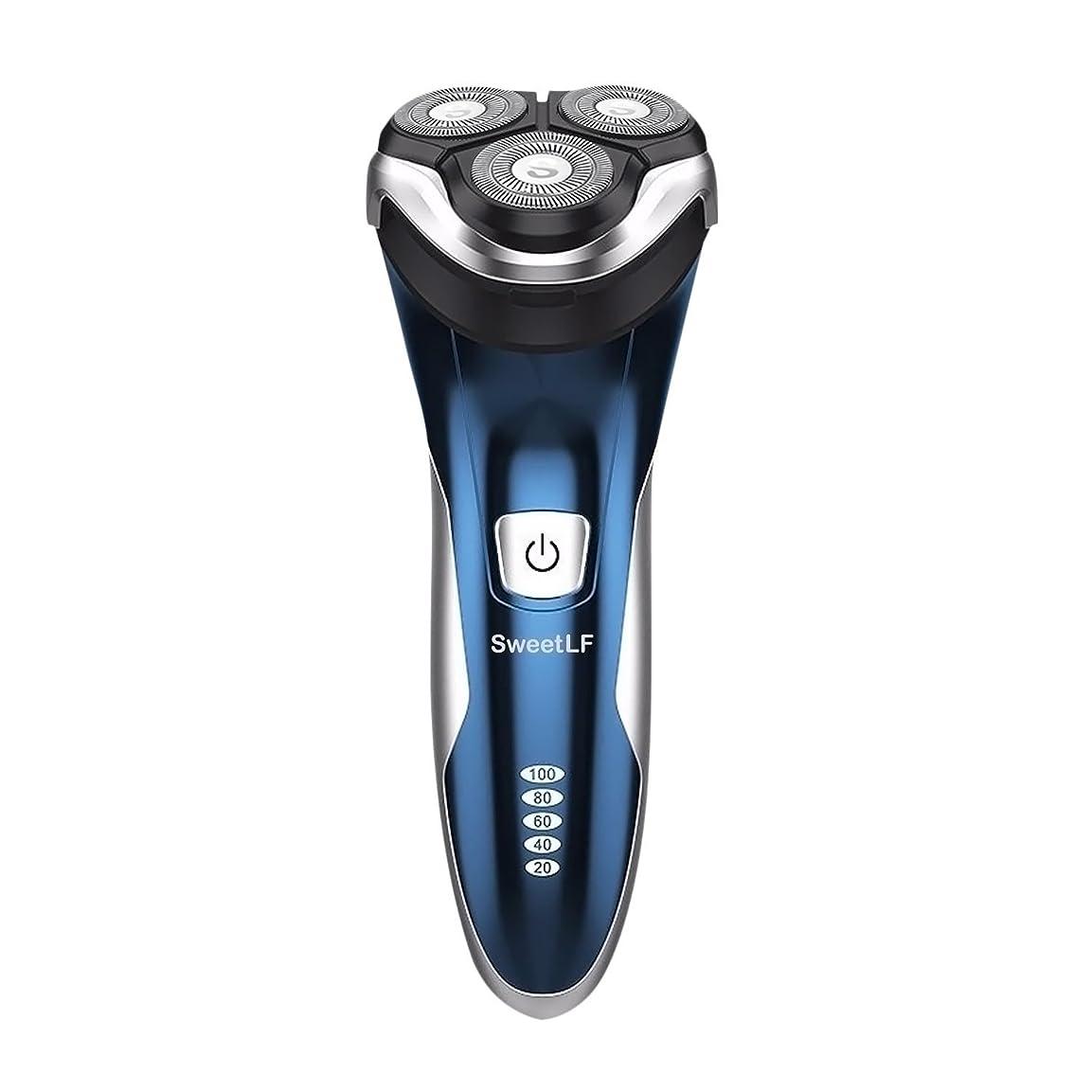 を必要としています受け入れる頼むSweetLF メンズ 電気シェーバー ひげそり 電気カミソリ 回転式 3枚刃 USB充電式 IPX7防水 お風呂剃り可 LEDディスプレイ トリマー付き